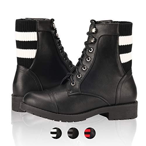 (Women's Combat Boots - Low Heel Lace Up Cross Stripe Woven Knit Cuff Booties Kate Black/White PU 7.5)
