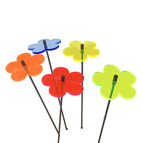 (Suncatcher Set of 5: Blossom | 250mm / 9,84'' high Fluorescent Garden Ornament | Glowing Decoration on Stick | Innovative Home Decor, Colour:All 5 Colours )