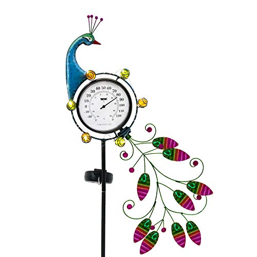 TERESA'S COLLECTIONS 39 inch Metal Solar Garden Lights Decorative Solar Peacock Stake with Thermometer for Outdoor Patio Yard Decorations