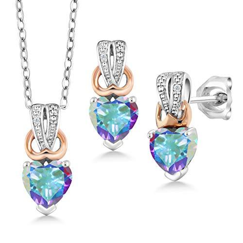 Gem Stone King 1.70 Ct Mercury Mist Mystic Topaz White Diamond 925 Silver Pendant Earrings - Set Mercury Topaz