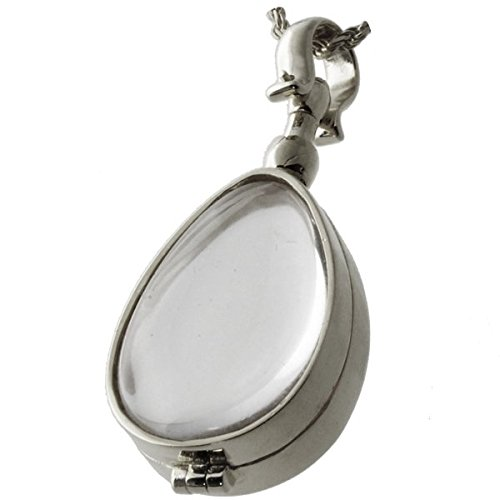 Memorial Gallery Pets 5005s Glass Teardrop Victorian Locket Sterling Silver Cremation Pet Jewelry by Memorial Gallery Pets