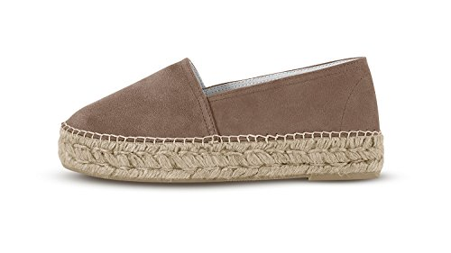 Espadrij L'ORIGINALE Womens Classic Velour High Suede Leather Espadrilles Sable HWHEdd