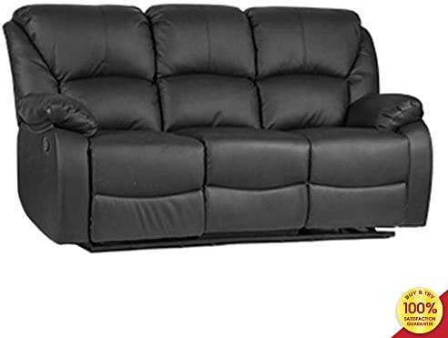 Mooseng Sofa, Classic and Traditional Bonded Leather Loveseat for Living Room Furniture 3 Seat Recliner Set Couch, Black , 3 Seater