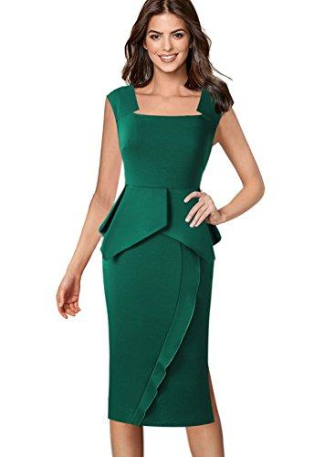 Ruffle Front Sheath Dress (VFSHOW Womens Square Neck Peplum Side Slits Wear to Work Midi Sheath Dress 463 GRN S)