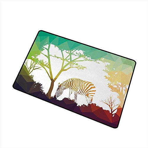 Moses Whitehead Fabric Door Mat Rug Africa,Digital Zebra Figure in Fractal Display Vivid Colors A Look at Kenya Illustration,Multicolor,for Daily Use-Stylish Floor Mat 16