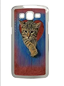 Heart Kitten PC Case Cover for Samsung Grand 2 and Samsung Grand 7106 Transparent