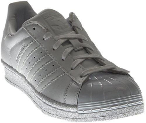 adidas Originals Women's Superstar Glossy Toe W Fashion Sneaker, White/White/Black, 7 M US (Adidas Superstar Trefoil Womens)