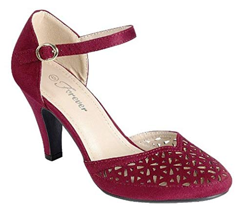 Mary Jane Pumps Feminine Cut-Outs Low Kitten Heels Vintage Retro Inspired Shoe with Ankle Strap, Burgundy, 10 ()