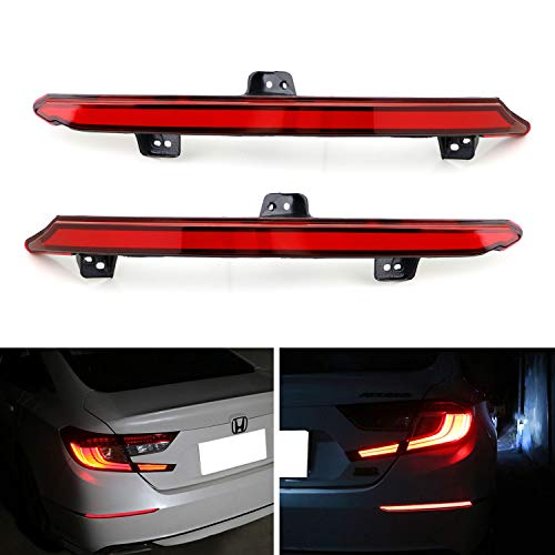 iJDMTOY Red Lens Full LED Bumper Reflector Lights For 2018-up Honda Accord Sedan, Function as Tail/Brake, Turn Signal Lights & Rear Fog Lamps ()