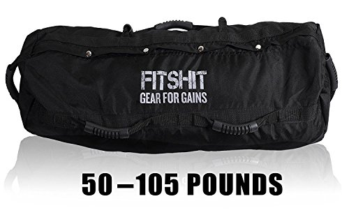 FITSHIT Sandbag for Training Workouts - Heavy Duty - Durable Functional Fitness Weighted Sandbags (Large, Black)