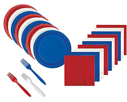 Patriotic Red White and Blue Appetizer/Dessert Party Supply Bundle for 60 Guests - Includes Plates, Napkins and Forks