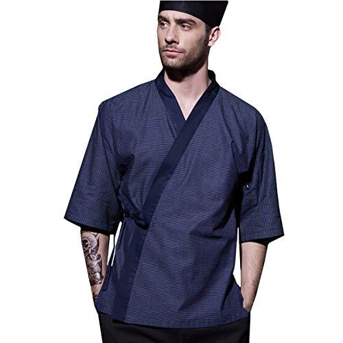 XINFU Men's Japanese Cotton Chef-Coat Short Sleeve Sushi for Men Restaurant Kimono Chef Jacket