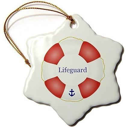 Divertido Navidad copo de nieve adornos salvavidas piscina mar (Beach Life Guard Rojo Blanco flotador