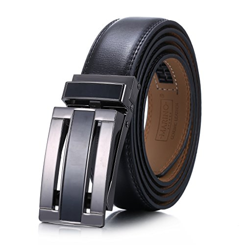 Marino Men's Genuine Leather Ratchet Dress Belt with Linxx Buckle, Enclosed in an Elegant Gift Box - Black - Style 163 - Custom: Up to 44