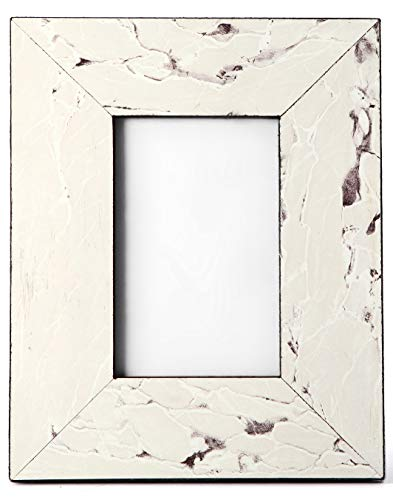 - Carla Carstens White Vintage Stone Marble 4x6 Picture Frame | Plastic Acrylic Suede Glass | Tabletop Desktop Photo | Wedding Personal Personalized |
