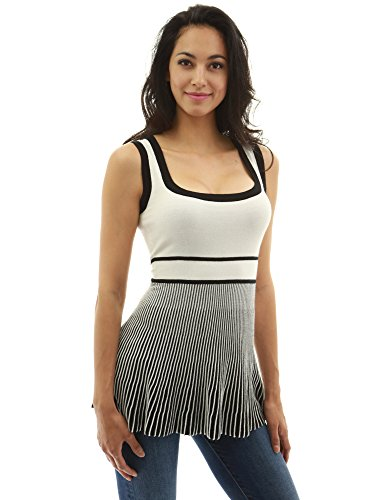 PattyBoutik Women's Empire Waist Knit Tunic Top (Ivory and Black L) - Waist Nylon Knit Shirt