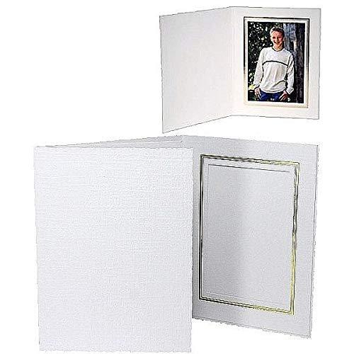 White Cardboard Paper Portrait Photo-Mount Folder 4x6 Frame w/Gold foil Border Sold in 25s - - Cardboard Portrait White