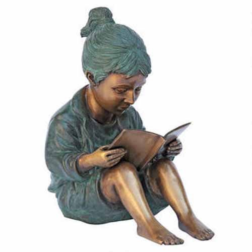 Story Book Girl Solid Bronze Garden Sculpture - Solid Bronze Garden Sculpture