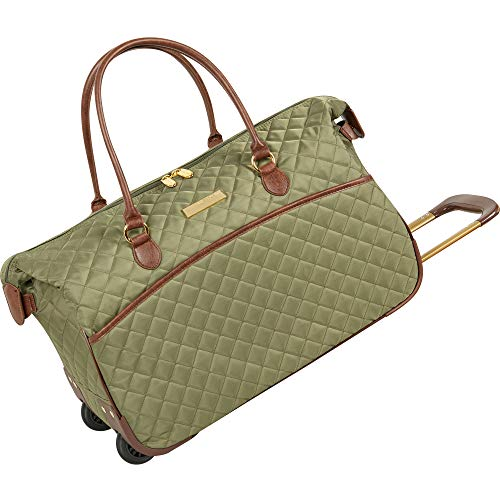 Anne Klein Wheeled Duffle Bag - Large Weekend Overnight 20 Inch Carry On Luggage for Women Travel with Rolling Wheels, Olive Quilted