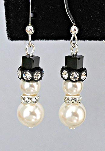 Small Snowman Earrings with Swarovski Pearls and Crystals - Holiday Jewelry Gift