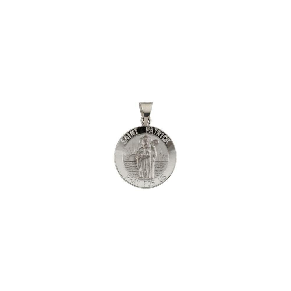 Patrick Medal Jewels By Lux 14k White Gold 18mm Round Hollow St