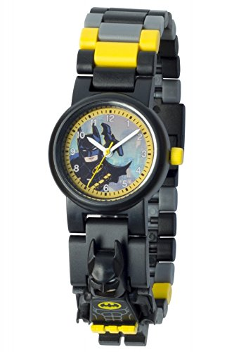 Boys Acrylic Watch (LEGO Batman Movie Batman Kids Minifigure Link Buildable Watch | black/yellow | plastic | 28mm case diameter| analog quartz | boy girl | official)