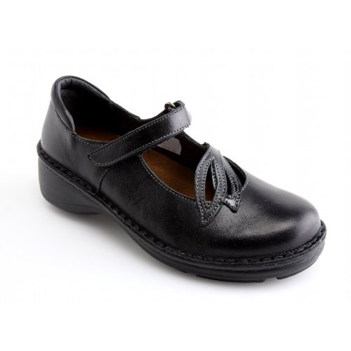 Naot Women's Primrose Mary Jane Flat,Black Madras Leather/Black Crinkle Patent Leather,36 EU/4.5-5 M US