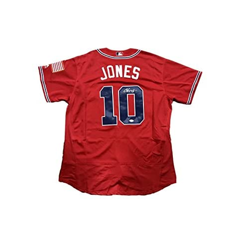 sports shoes 92541 17bfc durable modeling Autographed Chipper Jones Jersey - Red ...