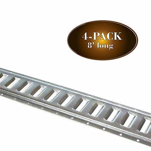 FOUR 8-ft E Track Tie-Down Rails, Trailer Accessories | Galvanized Steel, EZ Track Rail with Horizontal Slots for ETrac TieDown System, E-Tracks Tie Downs for Cargo on Pickup, Truck, Flatbed, ()