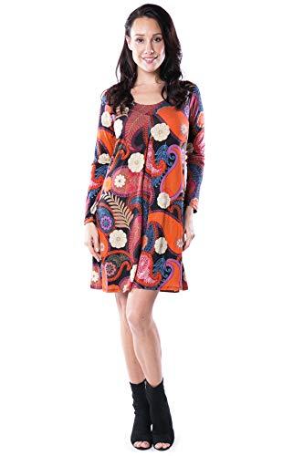 Print Jersey Paisley Dress (Nanakee Front Pleated Tunic Dress - Flattering Belly Cover Loose Fit Paisley Print Shift Dress Long Sleeve T-Shirt Dress - 3XL - Orange)