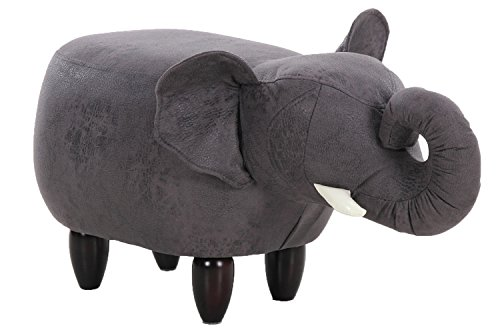 PIQUU Padded Soft Elephant Ottoman Footrest Stool Bench for Kids Gift and Adults Black