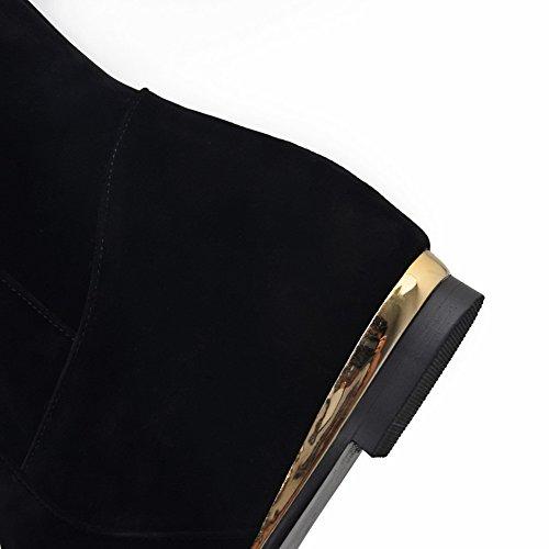 AllhqFashion Mujer Sintético Puntera Cerrada Sólido Botas Negro-Diamantes Sintéticos