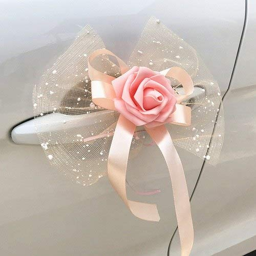 Artificial Dried Flowers - 6pcs Fashion Romantic Wedding Flower Bouquet Car Mirror And Handle Decoration Artificial Flowers - Wooden Diaper Wedding Silk Bridesmaid Decor Brooch Wreath Rose Craft