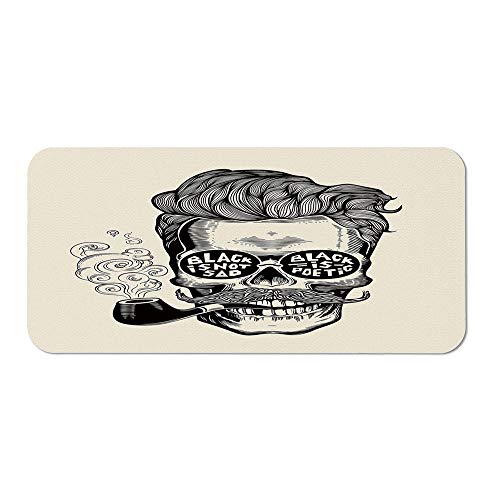 Indie Ordinary Mouse Pad,Hipster Gentleman Skull with Mustache Pipe and Eyeglasses with Inscription Vintage for Computers Laptop Office & Home,15.75''Wx23.62''Lx0.08''H