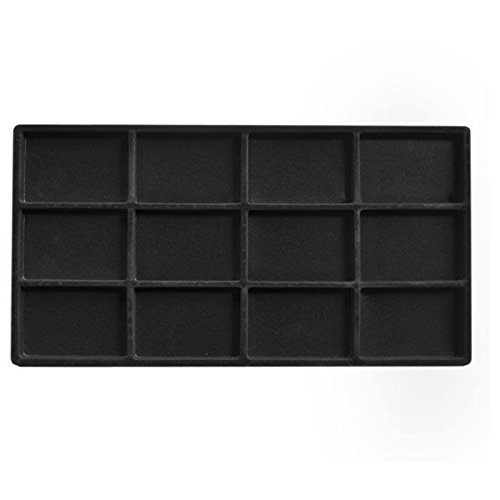 Black Flocked Tray Inserts (12 Compartment Full Size Tray liner)