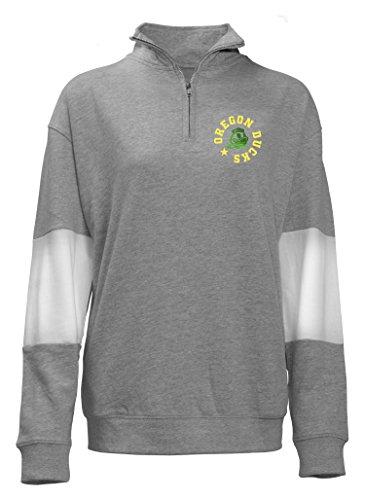 Old Varsity Brand NCAA Oregon Ducks Quarter Zip French Terry Sweatshirt, Gray, Large