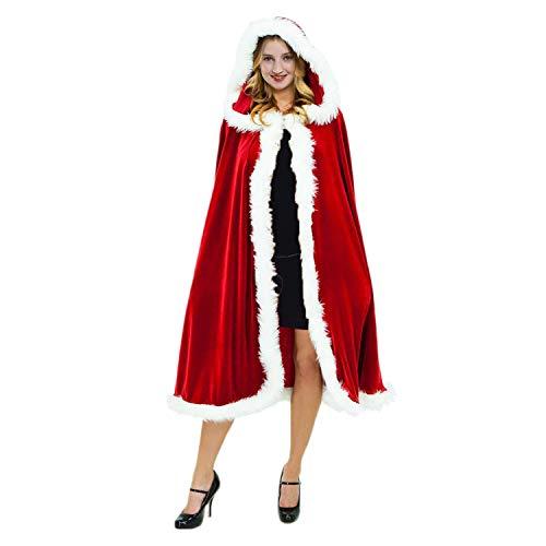Homelex Christmas Mrs Claus Hooded Cloak Mrs Santa Cape Costume for Women (59in/150cm, -