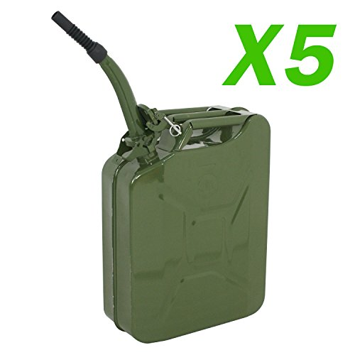 (Clever Market Gas Fuel Tank Jerry Can Automotive Steel Green Emergency Tank Backup NATO Style Army Gasoline Jerry Cans Lot Military Tank 5 Galon 20L Set of 5)