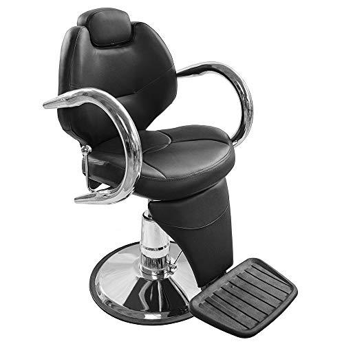 Silla Barbería Barbero Reclinable Hidráulica Peluquería Salón de Belleza Cómoda Resistente Negro