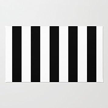 Amazoncom Poppylife Black And White Stripes Rug For Bathroom