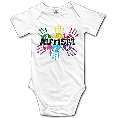 Arromper Autism Awareness Newborn Babys Short Sleeve Baby Climbing Clothes White