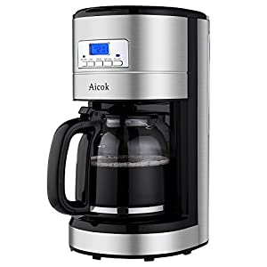 Drip Coffee Maker With Timer : Amazon.com: Aicok 12 Cup Coffee Maker, Drip Coffee Makers, Programmable Coffee Maker with Timer ...