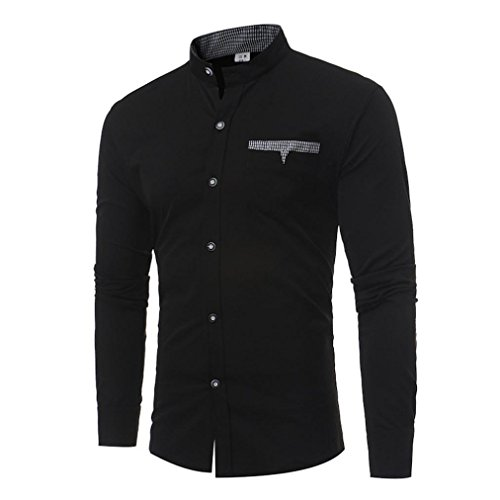 Realdo Mens Smart Casual Shirt, Solid Long Sleeve Slim Stand Collar Fit Single Breasted Top(Black,Small) for $<!--$12.69-->