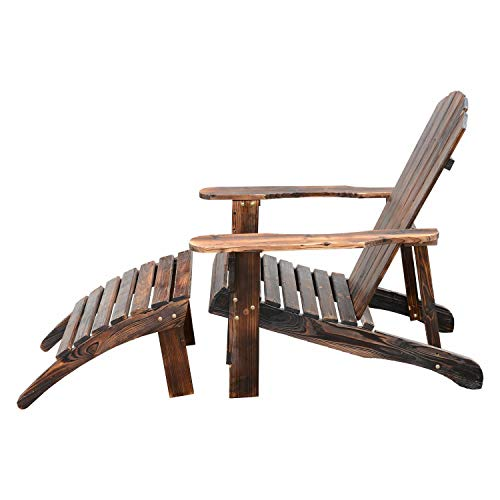 Adirondack Footrest Style (Open-Air Wooden Low-Lying Traditional Recliner Handmade Rustic Finish Wood Classic Adirondack Wide Armchair With Footrest Stool Inner Living Room Outside Garden Porch Beach Carbonized Brown Chaise)