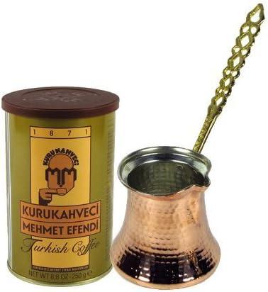 The Turkish Emporium Turkish Coffee Pot cezve//ibrik XL 14 oz /& Tin of Coffee Brass Handle