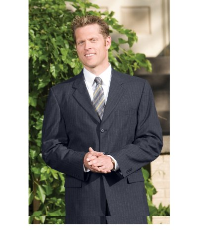 Ed Garments Men's Fully Lined Pinstripe Suit Coat, NAVY, 46 S. 3660 ()