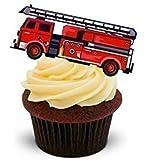 The Baking Girls - Toppers Décoration Gâteau Hostie Camion Pompier Rouge - Qté 12 Comestibles - feuille A5 2 x - 12 images