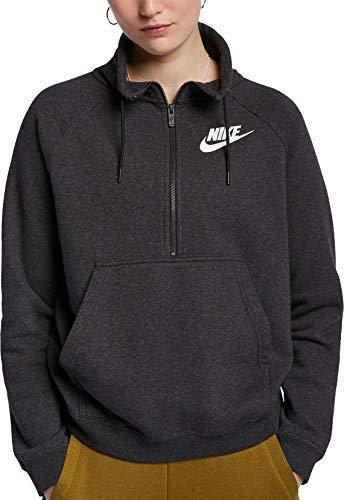 Nike Women's Sportswear Rally Half-Zip Sweatshirt (Black Heather, Small)