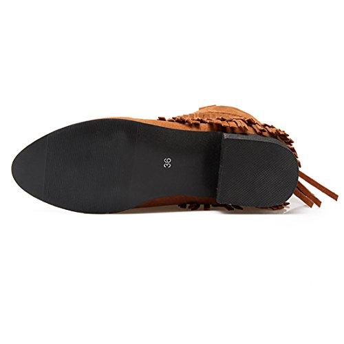 Rond Talons Bottines Marron 2017 Chaussures Avec Femmes Indiennes L anHYqZx