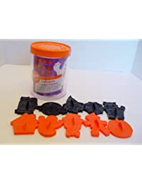 Bargain 1989 Set of Ten Wilton Halloween Plastic Orange and Black Cookie Cutters in Canister saleoff